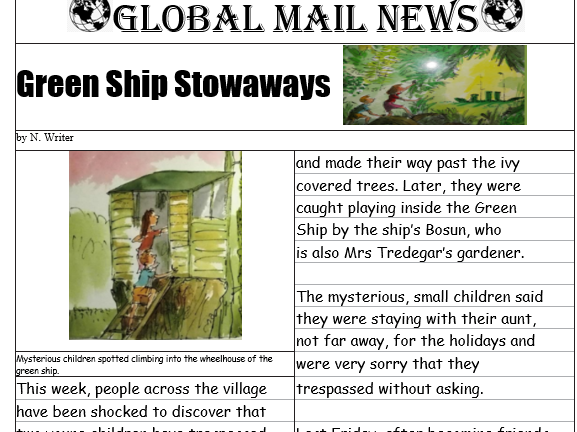 Newspaper report  based on The Green Ship complete with Talk for Writing text map.