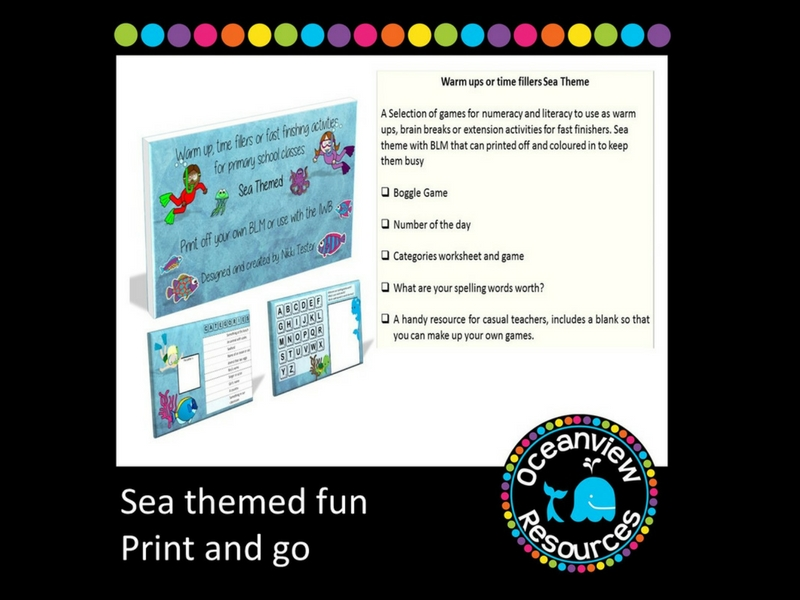 Sea Themed Brain Breaks, Time Fillers or Extension Activities
