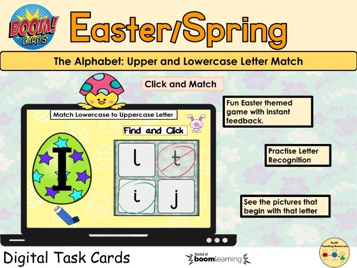 Easter Spring Letter Match Uppercase and Lowercase Letters Boom Cards™