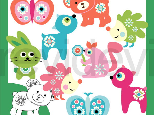 Woodland animals soft colors clipart