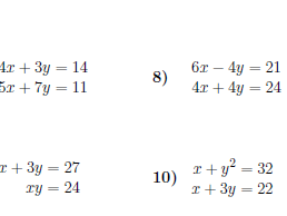 Simultaneous equations worksheet (with solutions)