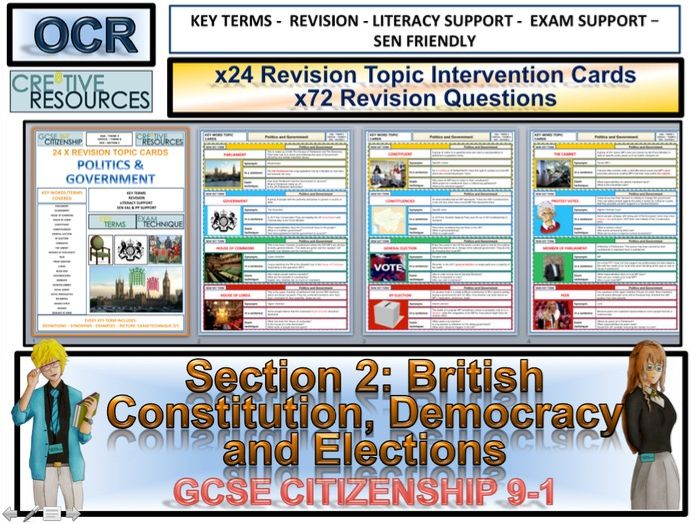 Citizenship GCSE 9-1 British Constitution and Democracy Revision Topic Cards