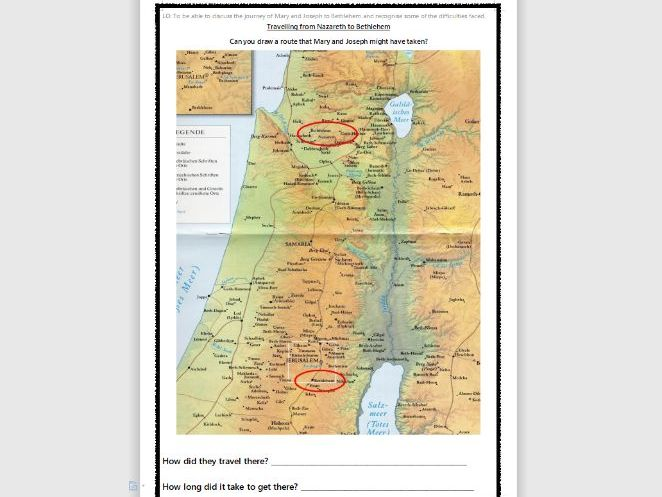 Worksheet/Activity Mary and Joseph's Journey to Bethlehem KS1