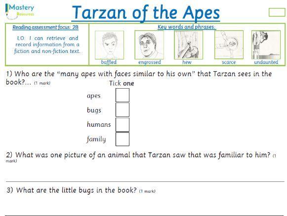 Tarzan of the Apes by Edgar R. Burroughs Comprehension KS2