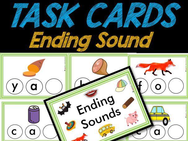 Ending Sounds TASK CARDS | Phonics | Easy PREP | Pre-k & Kindergarten