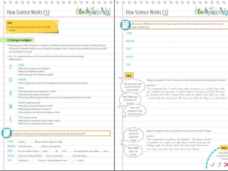 How Science Works (HSW) - Worksheet 3 (Experimental design, CORMS) - KS3 / KS4