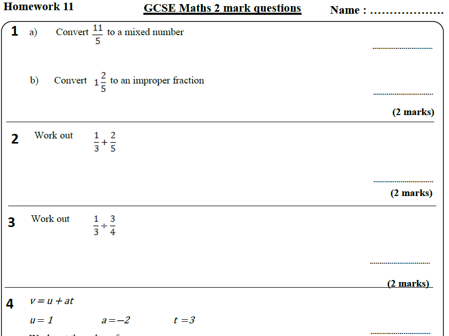 10 GCSE Maths HIGHER Homework Revision (9-1) Part 2 -Includes all ANSWERS
