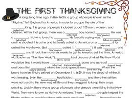 Thanksgiving Activity: Word Story
