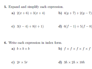 Basic algebra worksheets (with solutions)