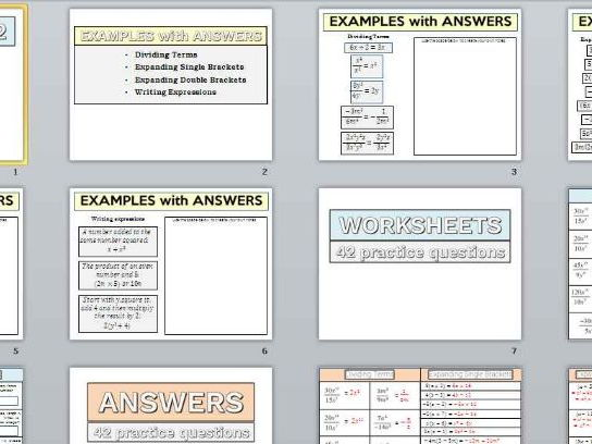 Algebra Skills 2 - examples, worksheets and answers