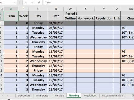 Planning Database Template (6 period, 1 week timetable)