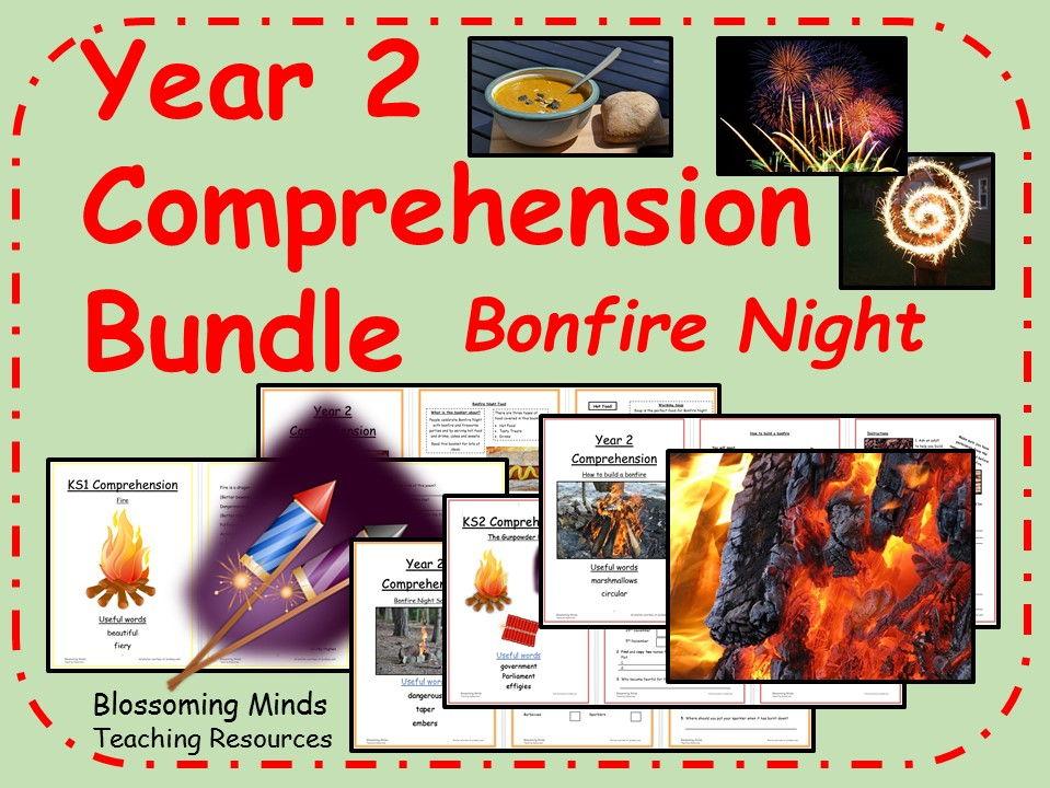 Year 2 Bonfire Night Comprehension Bundle (Guy Fawkes/Fireworks)