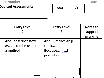 AQA Science ELC marking support sheet