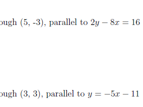 Equation of a line through a point and parallel to a given line worksheet no 2 (with solutions)