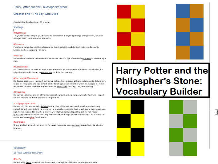 Spelling and Vocabulary - Harry Potter and the Philosopher's Stone