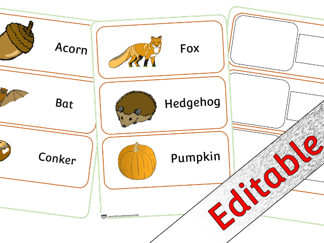 Autumn Word Cards - Editable