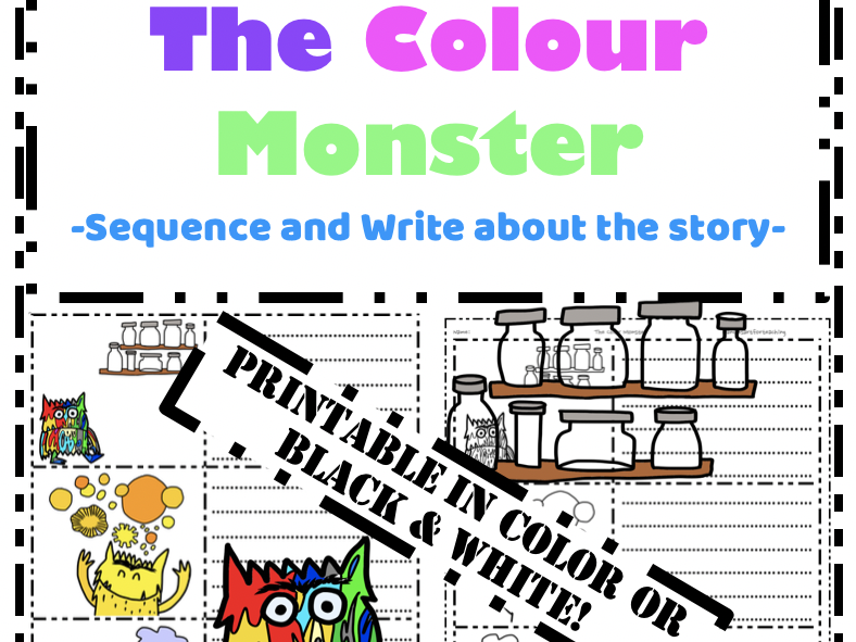 The Colour Monster Writing - Sequence and Retell the story emotions cut & paste