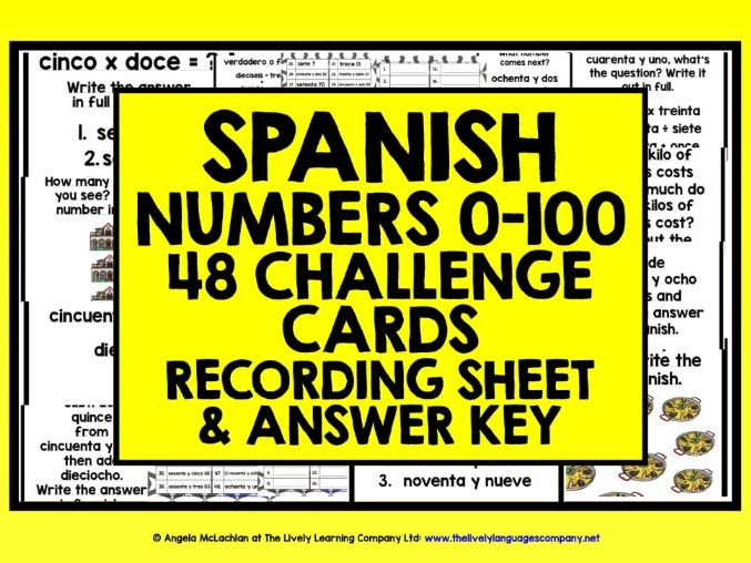 SPANISH NUMBERS 0-100 CHALLENGE CARDS