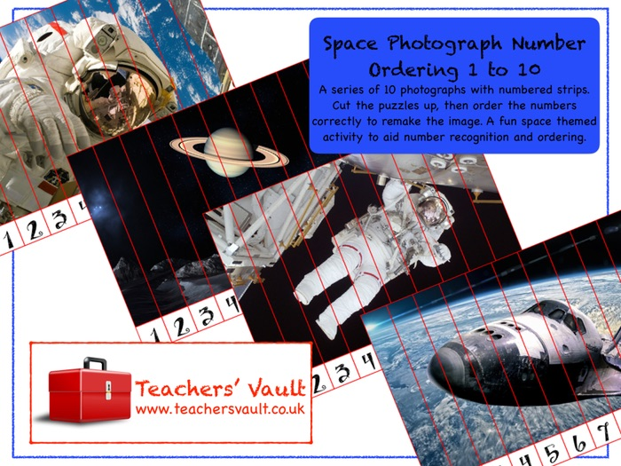 Space Photograph Number Ordering 1 to 10