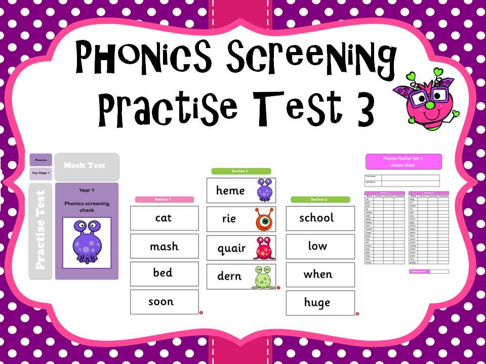 Phonics screening practise test 3