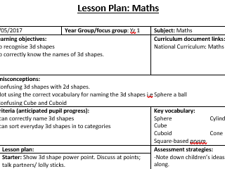 KS1 Maths 3d Shape Lesson Plan and Resource