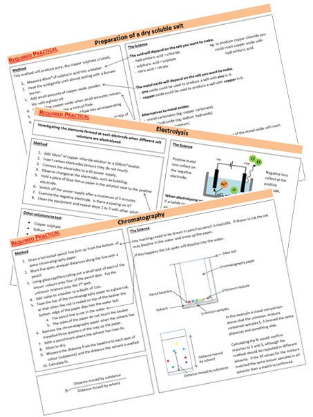 AQA Chemistry Required Practicals (Combined Science) Revision Sheets