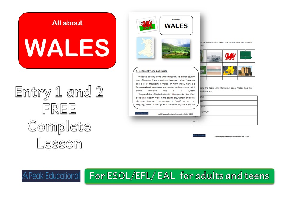 All About  Wales -  ESOL/EAL/ELL/EFL  and Citizenship