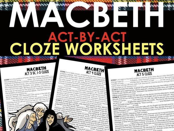 Macbeth Cloze Word Fill Worksheets for Every Act and Scene of Shakespeare's Play