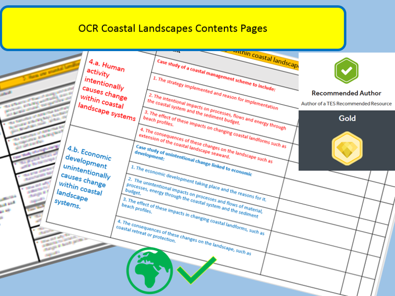 OCR A Level :Coasts Contents Pages.