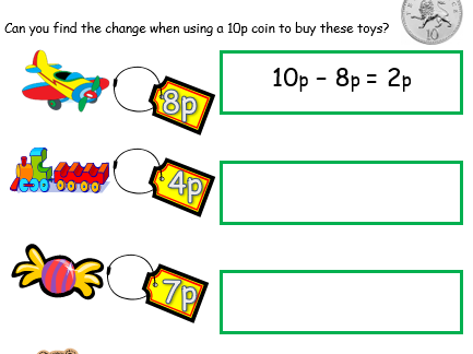 Calculating Change from 10p and 20p - 2 Worksheets
