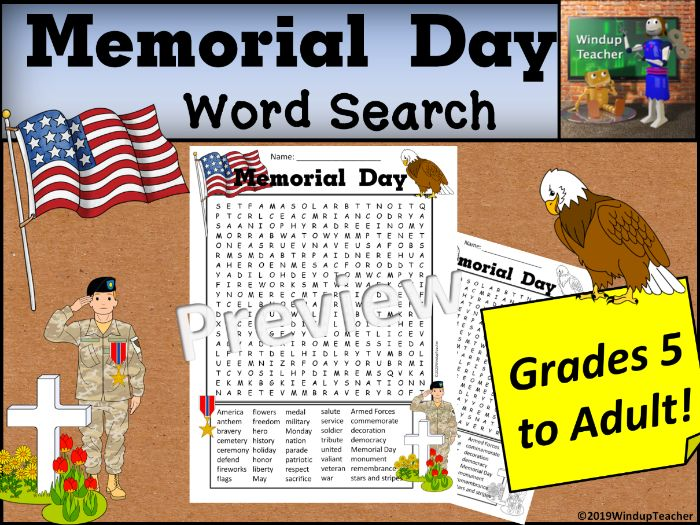 Memorial Day Word Search - Hard for Grades 5 to Adult
