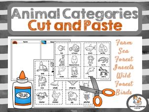 Animal Category Sorting - Cut & Glue - Vocabulary Builder