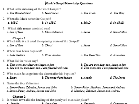 GCSE RS St. Mark's Gospel multiple choice questions