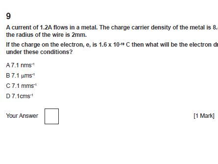 4.1 Charge and current OCR A Physics AS and A level Multiple Choice Questions