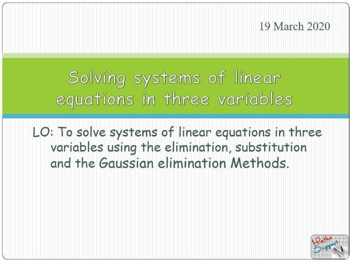 Solving system of linear equations with three unknowns