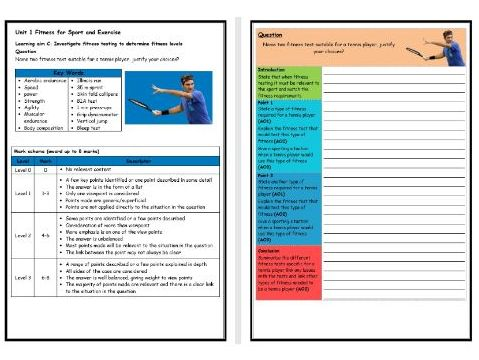 BTEC Sport (Level 2)- Unit 1 – Fitness Testing 2 Structure Strip (Long Answer Question)