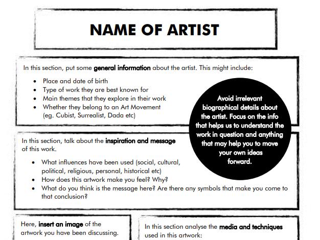 Artist Research Template Worksheet