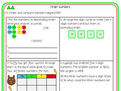 10. Order numbers differentiated worksheet (Y4 NPV)