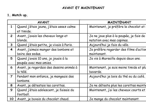"French activities ""avant et maintenant"""