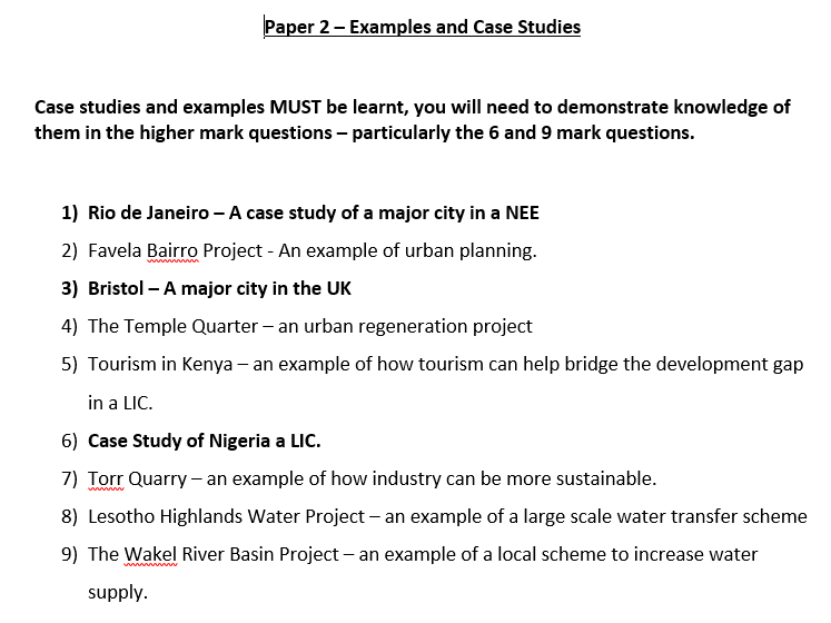AQA GCSE - Case Study booklet for the Human Geography