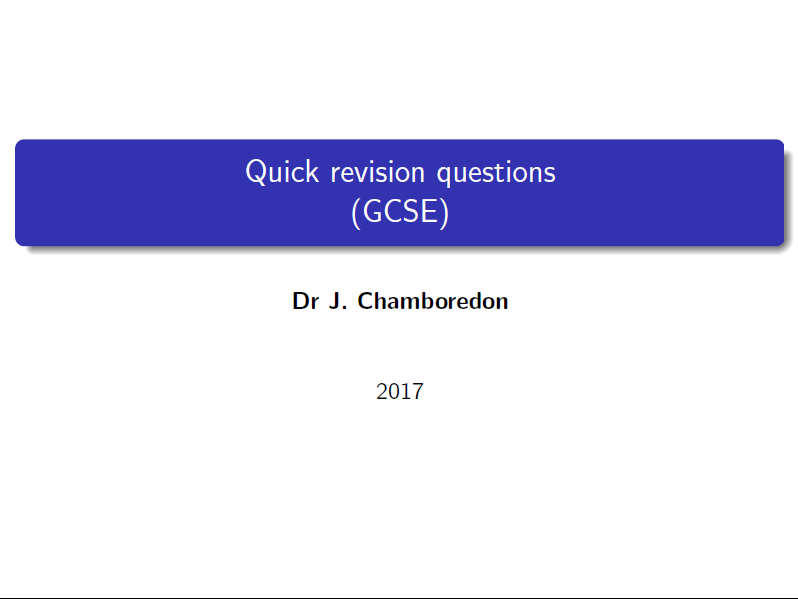 GCSE revision questions (Higher Tier)
