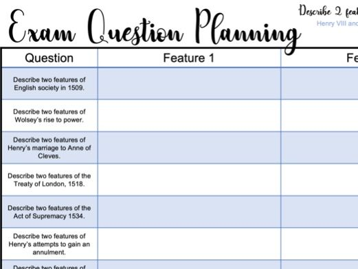 Exam Question Planning Sheets: Describe two features... Henry VIII and his ministers