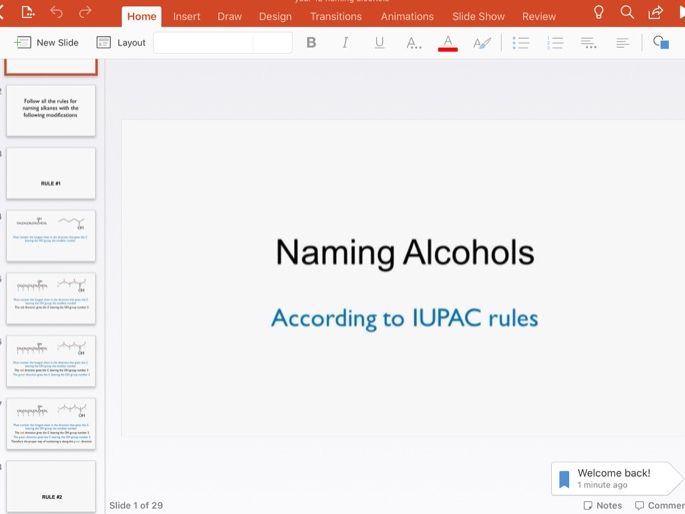 Naming alcohols rules, remote learning PowerPoint