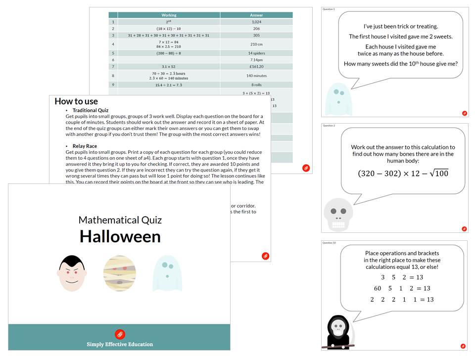 Halloween Mathematical Treasure Hunt / Relay / Quiz
