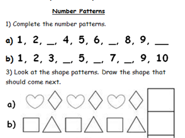 YEAR 1 OR 2 NUMBER AND SHAPE SEQUENCES. WORD AND PDF. 5 PAGES. GREAT LOW PRICE