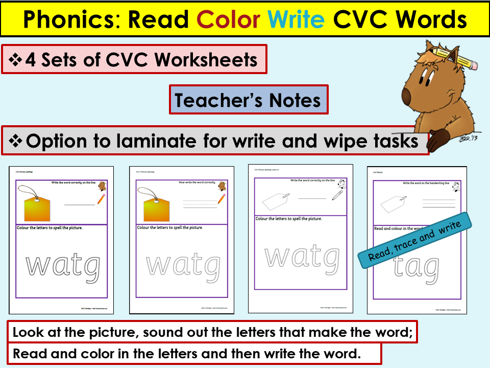 Printable Worksheets writing cvc words worksheets : Phonics: CVC Words, Read, Color Write Activities by Ro_Milli0110 ...
