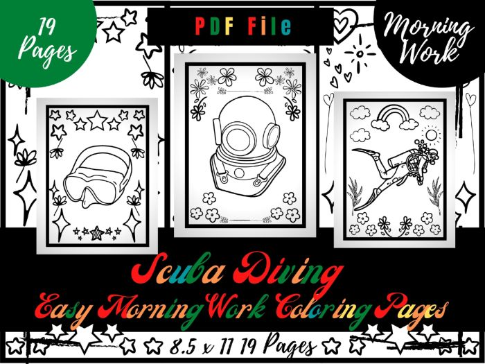 Scuba Diving Morning Work Colouring Pages, Easy Printable Colouring Sheets PDF