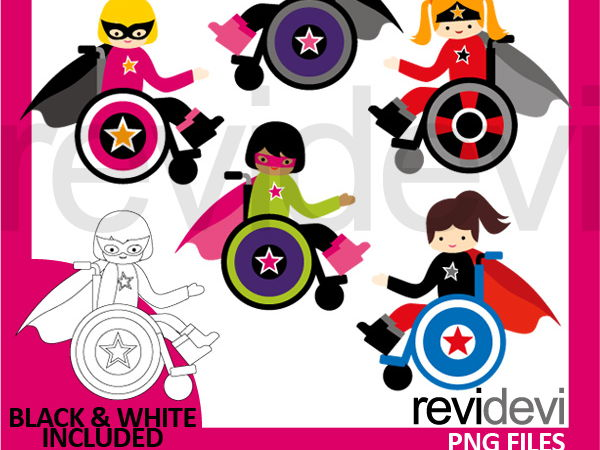 Superhero Girl In Wheelchair clip art: children with disability clipart