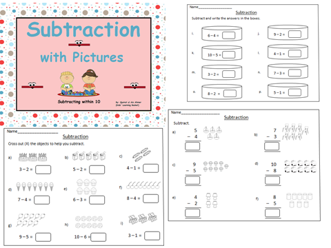 Subtraction with Pictures (within 10)