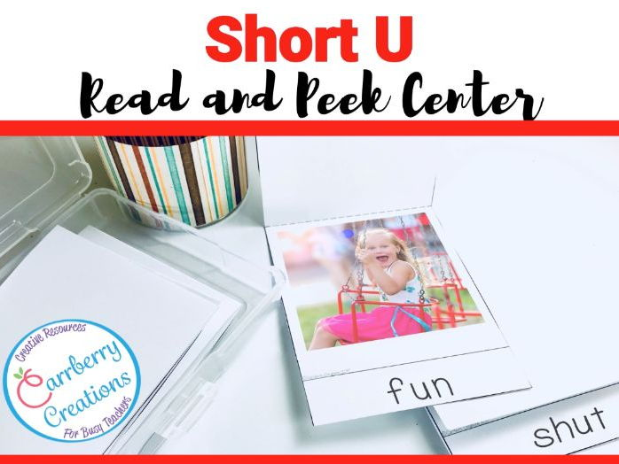 Short Vowels Literacy Center with Short U words